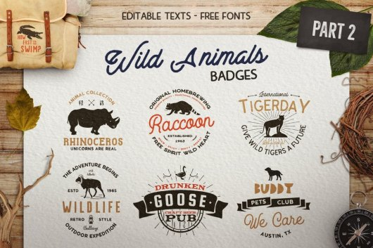 12 Wild Animals Travel & Adventure Sign Templates