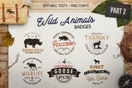 12 Wild Animals Travel & Adventure Sign Templates