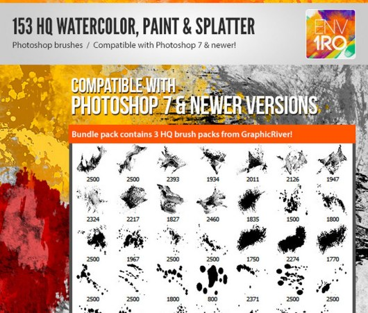 153 Watercolor Paint & Splatter Photoshop Brushes