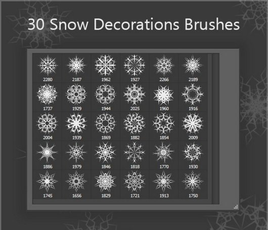30 Snow Decorations Brushes