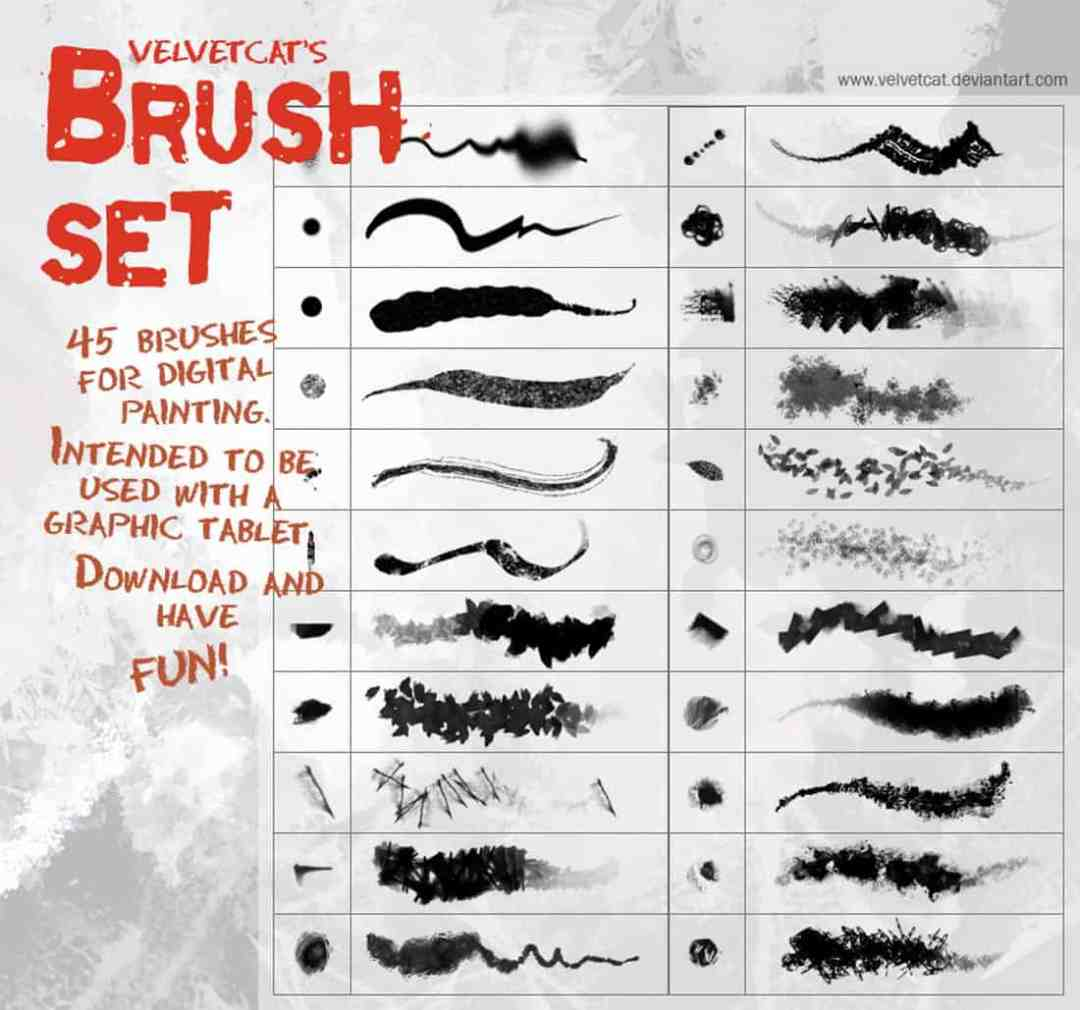 45 Digital Painting Photoshop Brushes