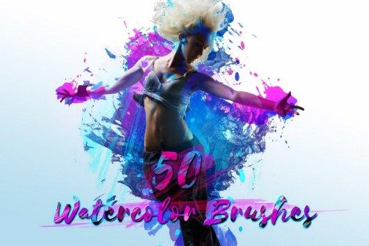 50 Watercolor Brushes