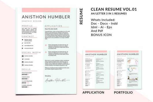 A4 Letter Clean Resume Templates