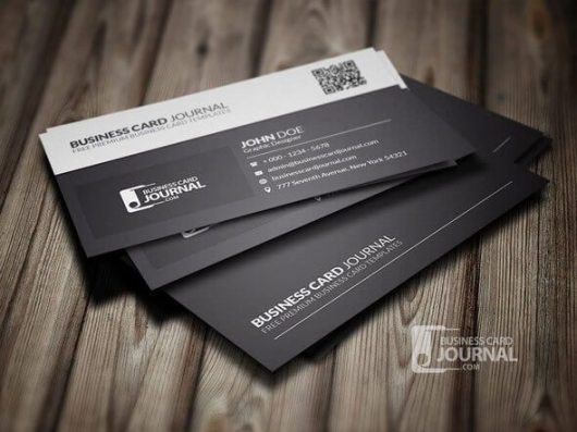 Black-White-QR-Code-Business-Card-Template