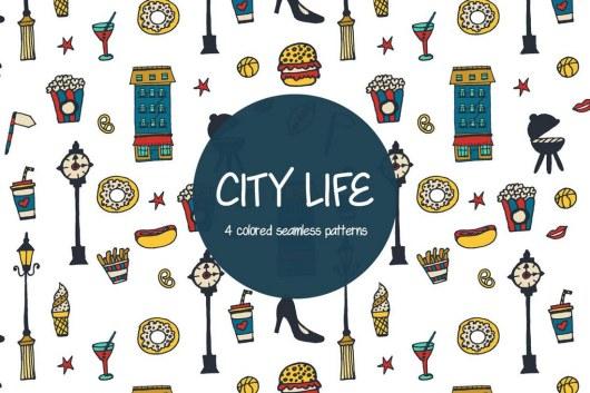 City Life Free Vector Pattern