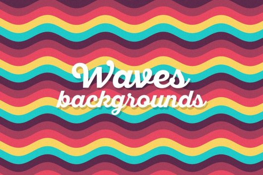 Colored Flat Waves Rainbow Backgrounds