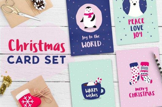 Cute Christmas Card Templates Set