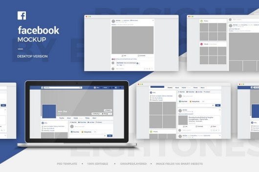 Facebook Desktop Mockup Template