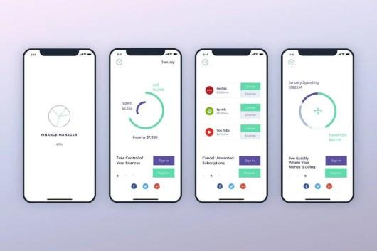 Finance Launch Screens Walkthroughs Sketch Template
