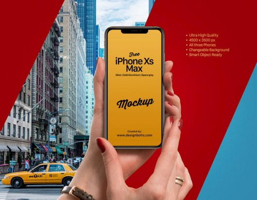 Free iPhone XS Max With Hand Mockup PSD
