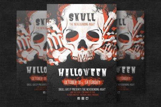 Halloween Skull Party Flyer Template