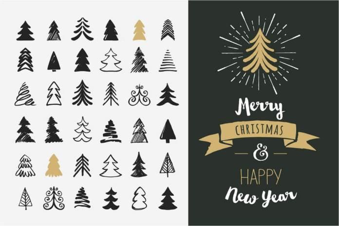 hand-drawn-christmas-tree-elements