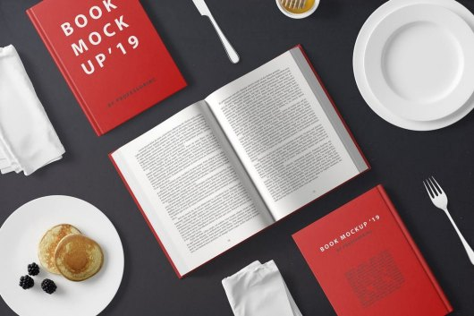 Hard Cover Book Mockup - Breakfast Scene