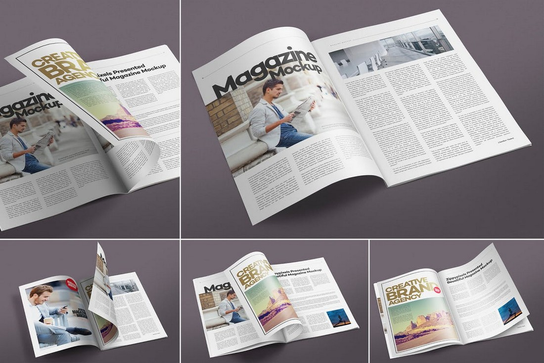 Coming with refined layers and objects which help in the creation of photorealistic designs,. 20 Pro Magazine Mockups Cover Spread Design Shack