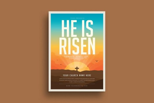 Risen Church Flyer Bulletin Template