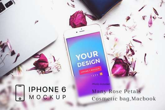 Rose Petals with iPhone 6 Mockup