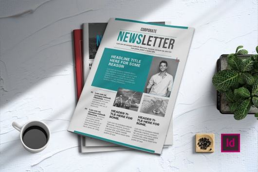 Simple Corporate InDesign Newsletter Template