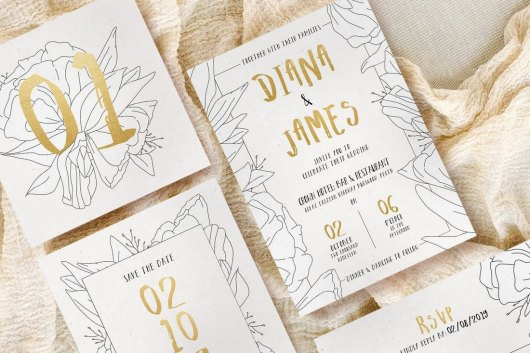 Simple Floral Outline Wedding Templates