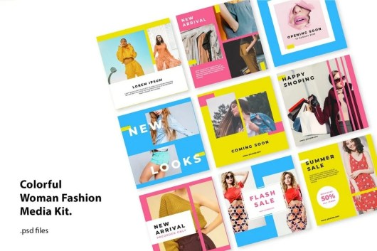 Social Media Kit Colorfull Fashion