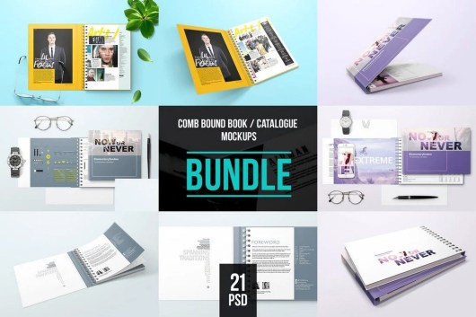 Spiral Bound Book Cover Mockup Bundle