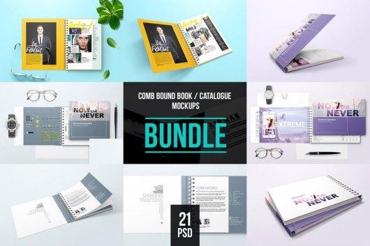 Spiral Bound Book Cover Mockup Bundle