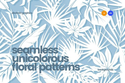Unicolorous Seamless Floral Patterns