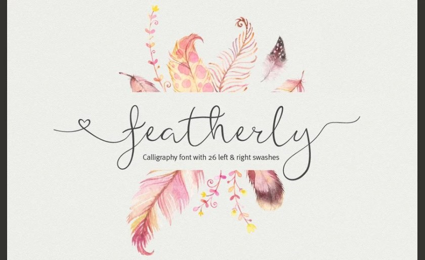 Featherly Is A Hand Drawn Elegant Modern Calligraphic Font Perfect For Wedding Design Projects Invitations Greeting Cards Signatures Watermarks