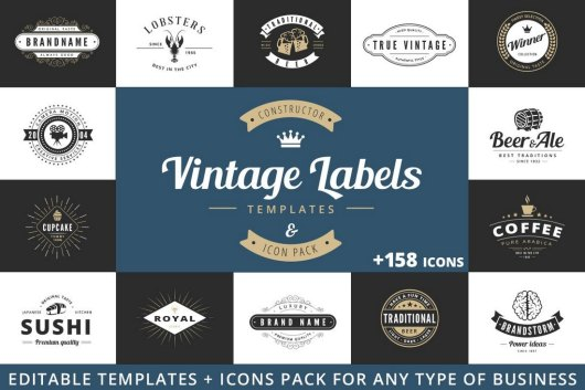 Vintage Labels Sign Templates
