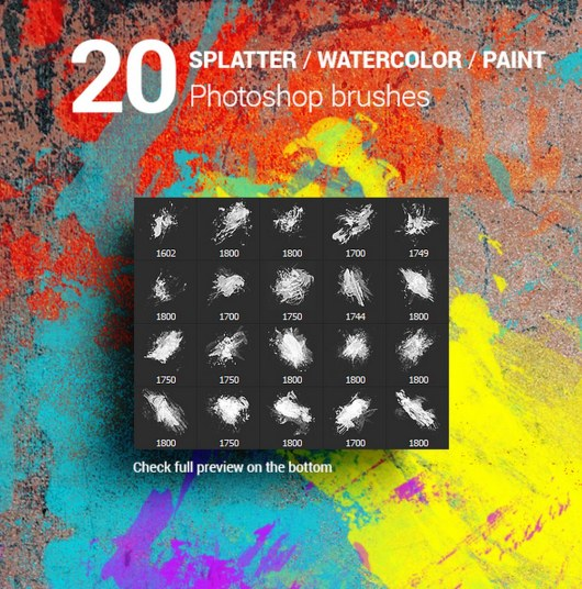 Watercolor Splatter Paint Photoshop Brushes