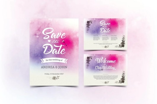 Watercolor Wedding Invitation & Save The Date Templates