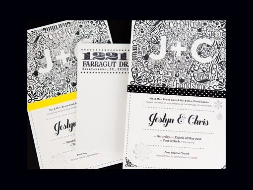 Black And Gold Typographic Wedding Invitations By Megan Wright Design Creative Brown Envelope