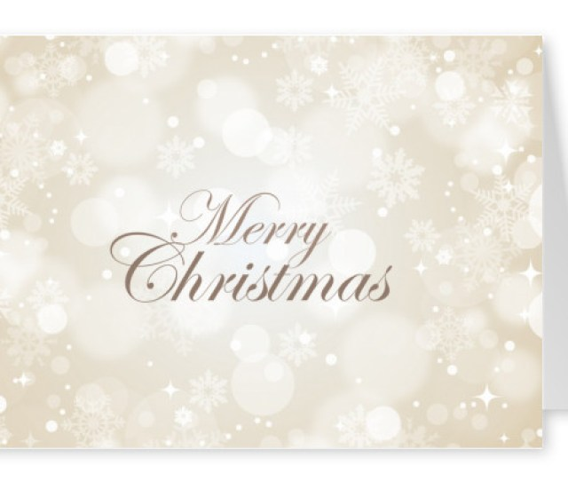 Merry Christmas Quote On Blurry White Snowflakes Background