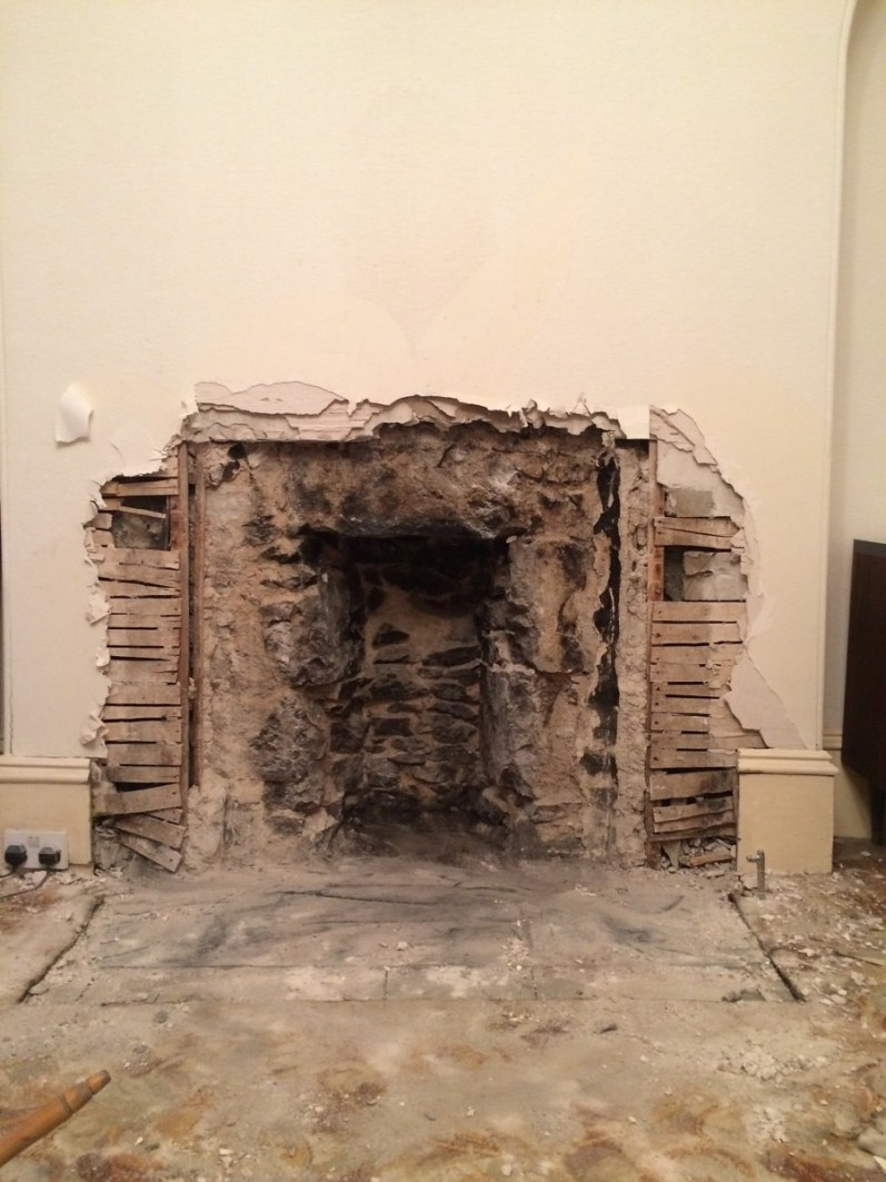 Fireplace makeover; the clear up