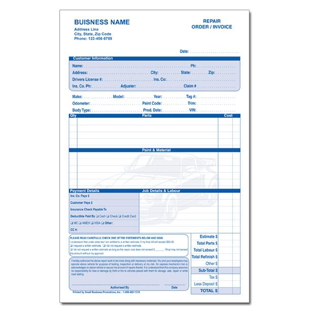 You can also customize the blank. Automotive Repair Invoice Work Order Estimates Designsnprint