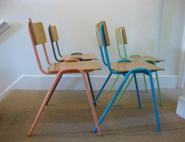 D.I.Y Colour Pop Chairs - Bright Plywood School Chairs Pastel Pink, Blue, Green, Modernist Grey
