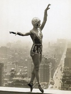 Vintage New York Tightrope Walker Trapeze Skyscraper Circus
