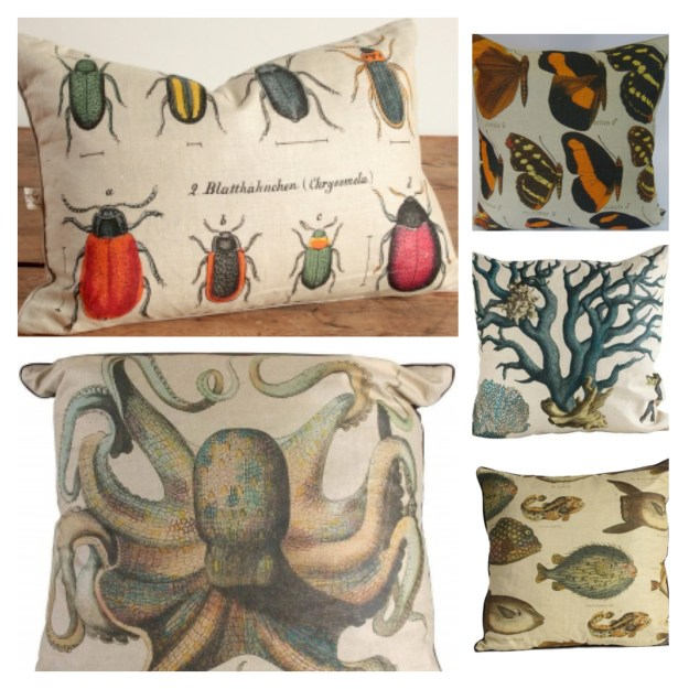 Design Legacy Entomology Cushions Beetles, Octopus, Butterflies, Coral, fish
