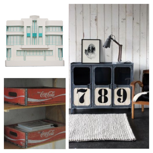 Hoover Building Model, vintage Coca Cola crates, Industrial sideboard cupboard metal numbers