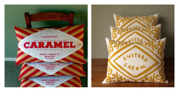 Tunnocks Caramel Wrapper, Custard Cream Cushion Nikki McWilliams