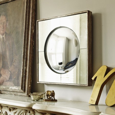 Vintage style Square Framed Round convex Mirror, Graham & Green.