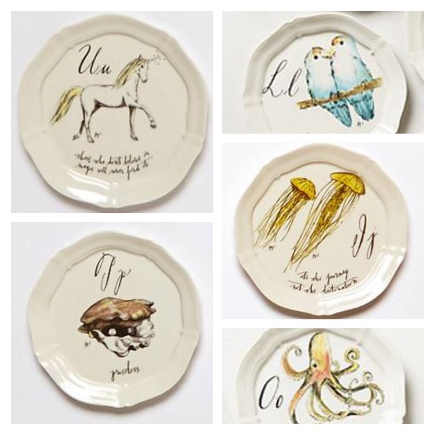 Anthropologie Calligraphy Plates