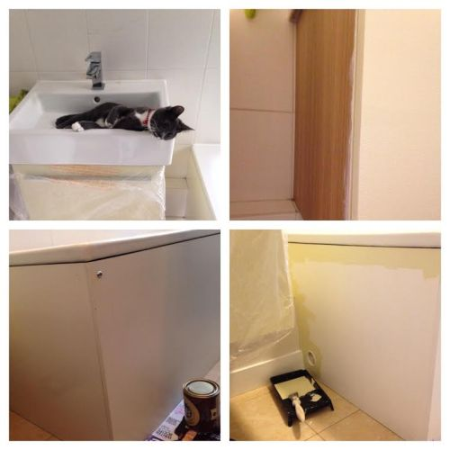 Before and after painting bathroom furniture with Farrow & Ball pale Hound Eggshell