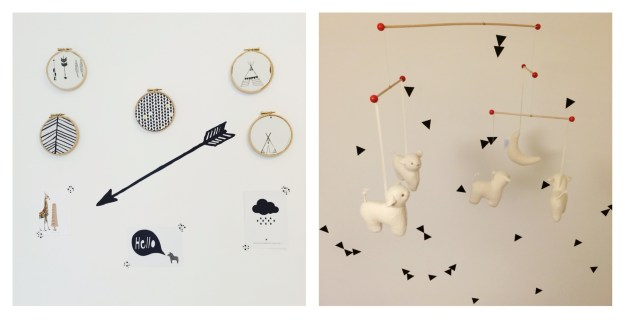 French Trousellier sheep mobile, ferm living triangle, monochrome native american arrows