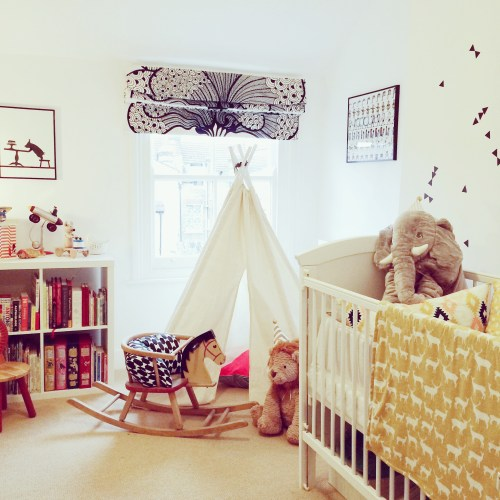 Monochrome geometric teepee childrens bedroom nursery (2)
