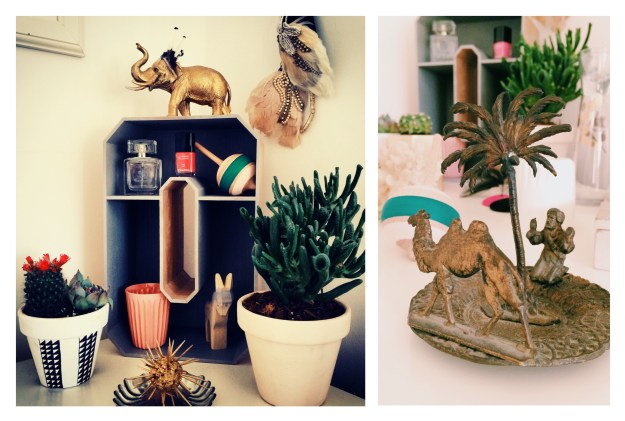 Cactus Succulent bedroom styling gold elephant vintage objects