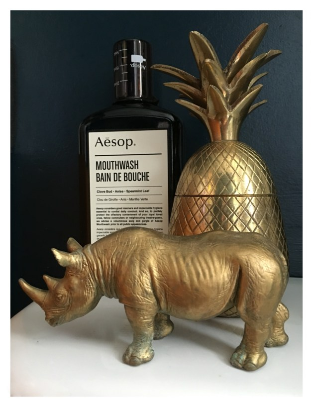 Gold Rhino brass pineapple Aessop Mouthwash Hague Blue bathroom