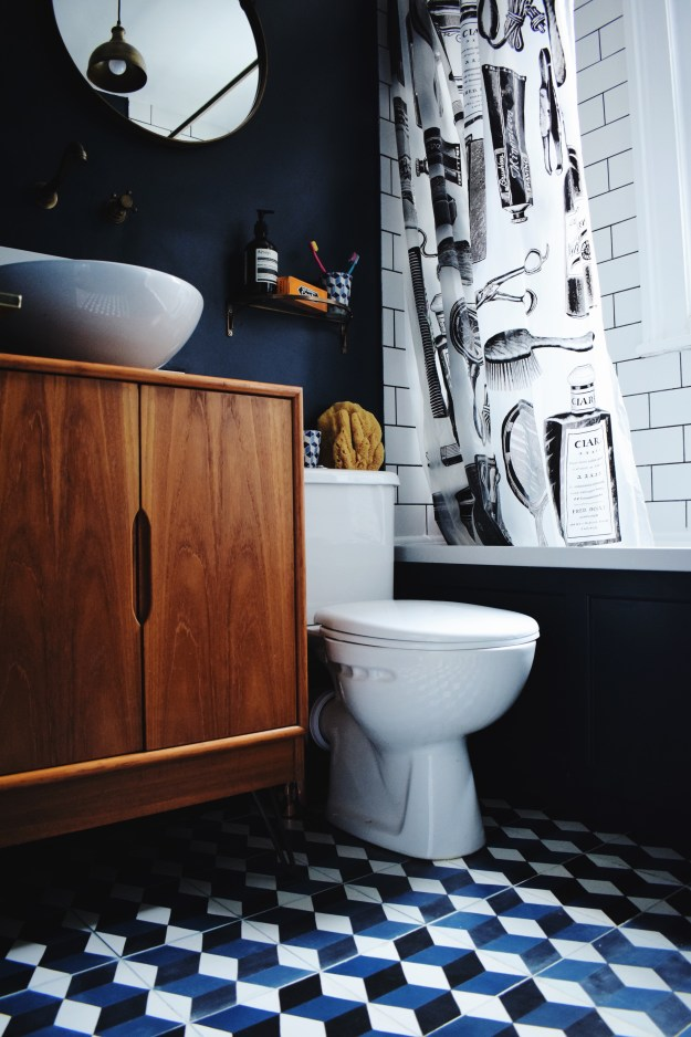 brass-bath-fittings-encaustic-patterned-cement-tiles-hague-blue-midcentury-teak-vanity-bathroom