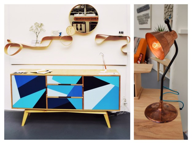 Ryan Overton, New Designer 2016, copper desk lamp, graphic plywood sideboard