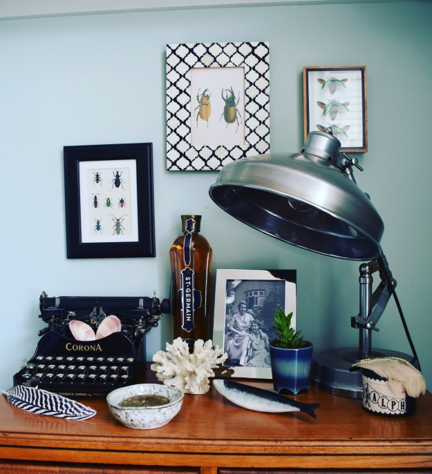 eclectic modern bohemian vintage interior decor farrow ball teresa's green industrial lamp vintage type writer natural history styling shells feathers
