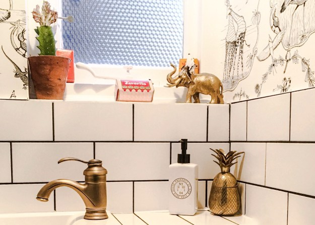 Vintage Modern Bohemian style monochrome and brass bathroom accesories
